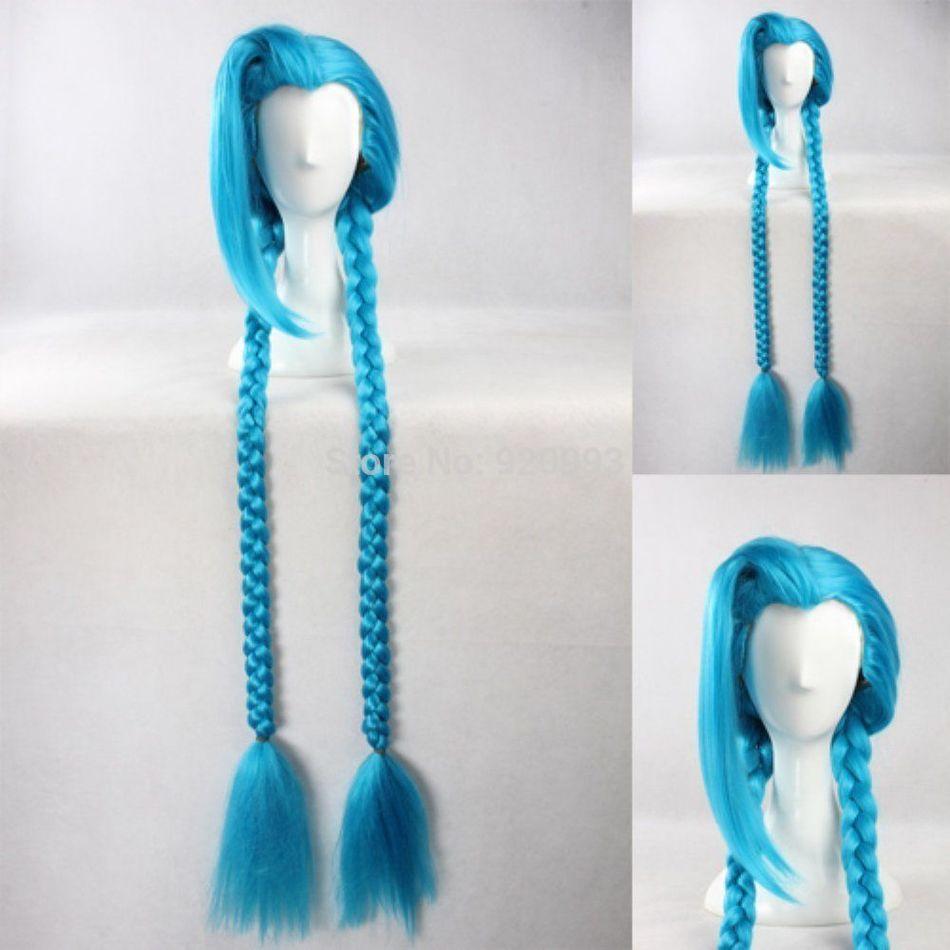 WQ &&>>>100cm Cute Cos cosplay girl s LOL League of Legends loli Jinx wigs