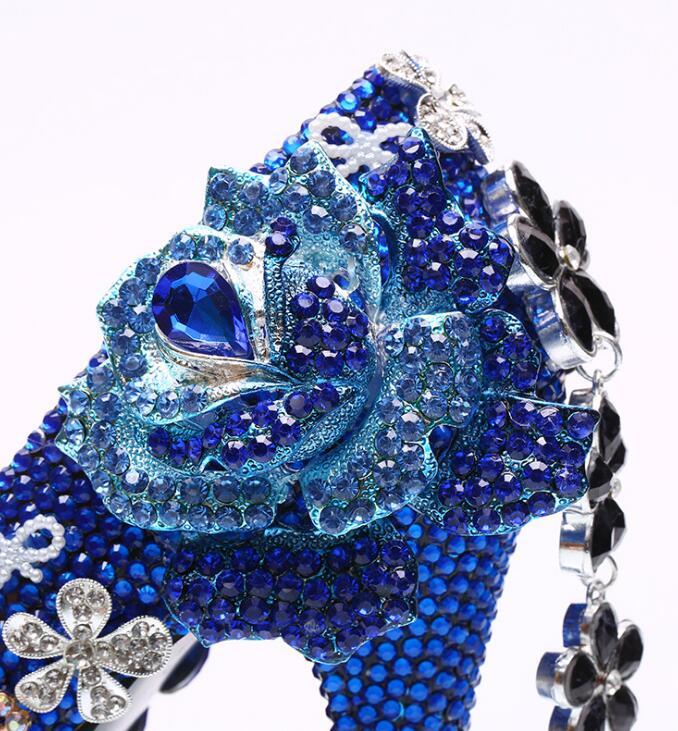 Redonda Flor Impermeable Partido Diamante Accesorio Bombas Cerrada Plataforma Etiqueta Las De Boda Zapatos Borla Punta Azul Novia Señoras qPqOFYw