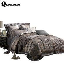 High Quality Sateen Jacquard Bedding Set Cotton Soft Duvet Cover/Bed Sheet/Cushion Cover/Pillowcases 4/6 Pcs Textile Bedding Kit