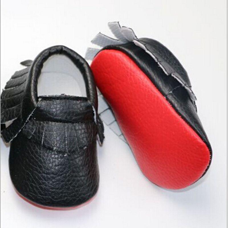 2016 Fashion Mixed Colors Newborn Baby PU Leather Fringe Soft Soled font b Shoes b font