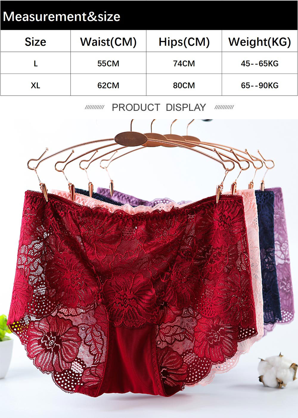 Big Size Underwear Women Panties Sexy Lace Briefs Transparent Seamless Lingerie Cotton Hollow Out High-Rise For Weight 100KG MM