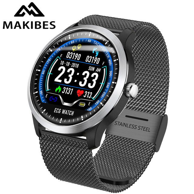 Makibes BR4 ECG PPG smart watch Men with electrocardiogram display heart rate blood pressure smart Band Fitness Tracker New