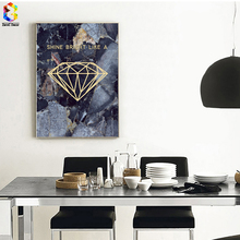 Modern Diamond Posters And Prints Wall Art Canvas Painting Pictures For Living Room Nordic Marble Picture