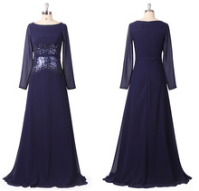 Mother of the Bride Dresses HE08635NB Ever Pretty Women Sequins O-Neck Long Sleeve Mother of the Bride Dresses