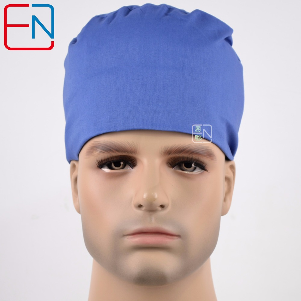 Hennar Surgical Caps 2018 Blue 100% Cotton Medical Caps High Quality Hospital Doctor Scrub Hats Detal Clinic Surgical Cap Unisex