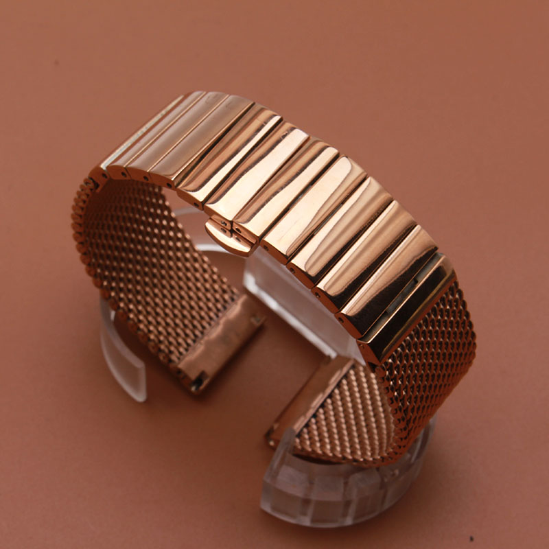 Watch Band Strap stainless steel watchbands polished mesh watchband solid links watch accessories 18mm 20mm 22mm 24mm rosegoldWatch Band Strap stainless steel watchbands polished mesh watchband solid links watch accessories 18mm 20mm 22mm 24mm rosegold