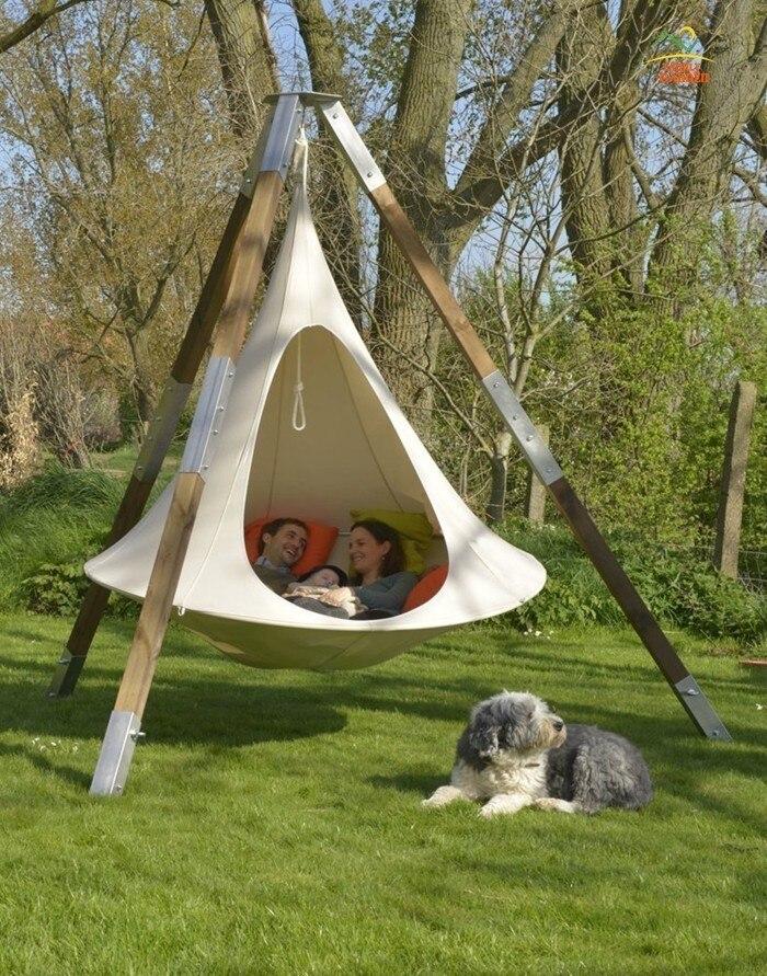 Chaise d'oscillation de cocon de ver à soie accrochant d'arbre de tipi de forme d'ufo pour des enfants et des adultes