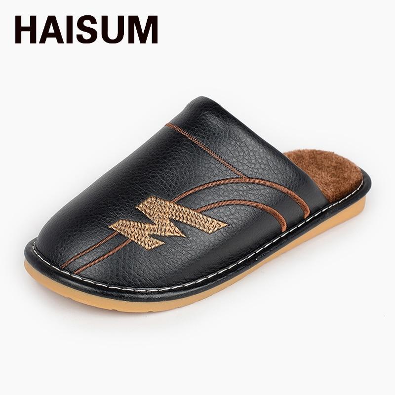 Haisum Men's winter PU leather slippers warm plush waterproof indoor men's slippers 8007 soft plush big feet pattern winter slippers
