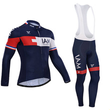 iam pro winter cycling jersey portswear breathable long bike clothing qucik dry Color stripe cycling wear