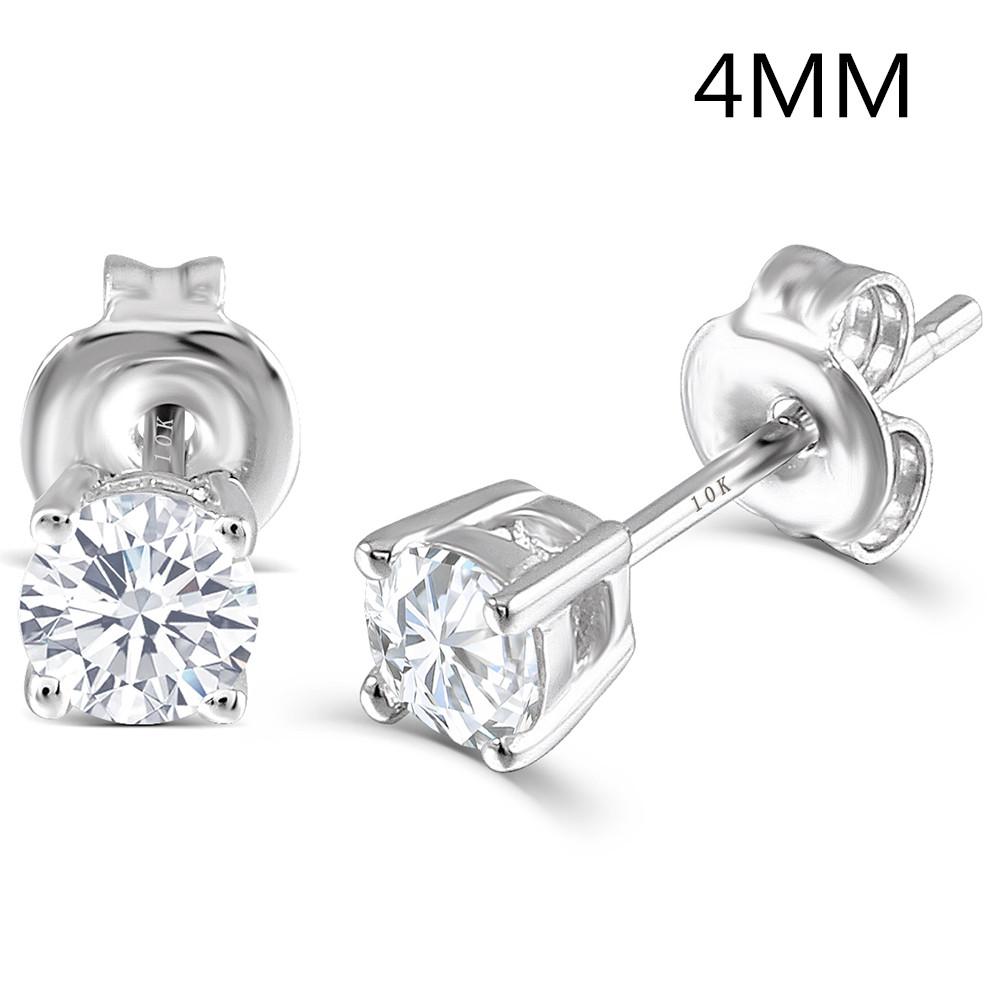 Transgems Platinum Plated Silver 0.5CTW 4MM HI Color Moissanite Stud Earrings for Women Push Back Classic Moissanite EarringsTransgems Platinum Plated Silver 0.5CTW 4MM HI Color Moissanite Stud Earrings for Women Push Back Classic Moissanite Earrings