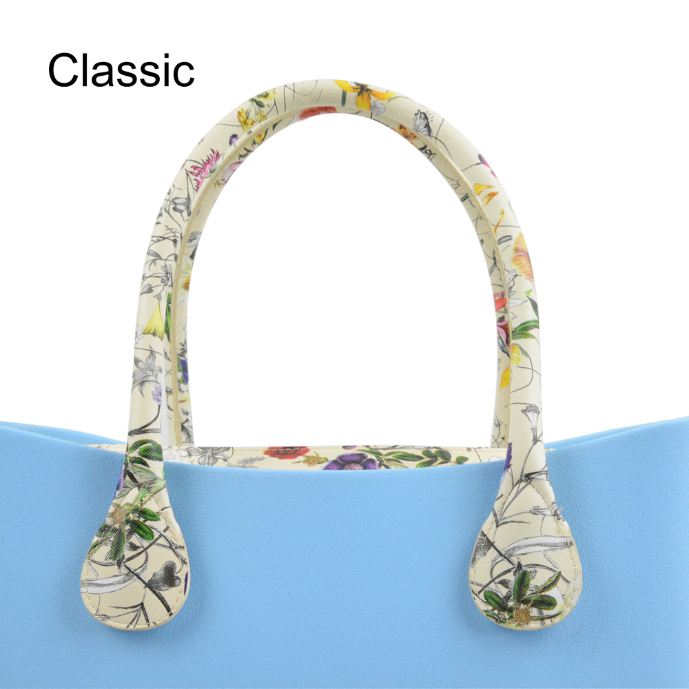 New 1 Pair 63CM Long Size Floral Print Soft Faux Leather Handles for Obag AMbag