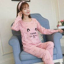 Купить с кэшбэком Month postpartum lactation female pregnant women pajamas long sleeved cotton sleepwear set maternal feeding Home Furnishing wear