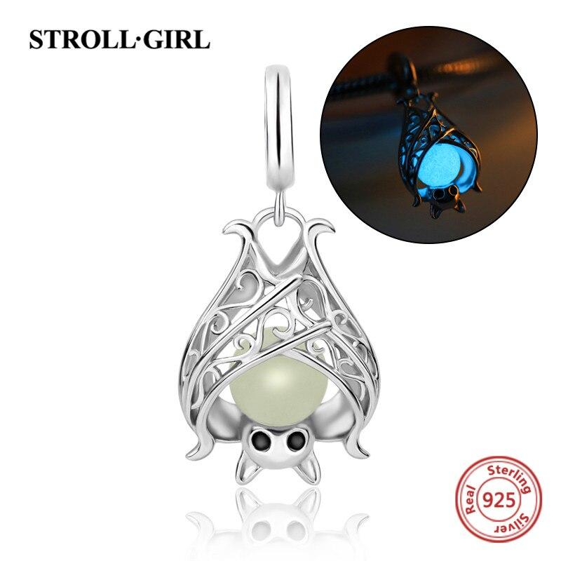 StrollGirl dell'argento sterlina 925 animale Pipistrello perline luminose di fascini diy Misura Autentico Pandora Braccialetti del pendente Monili che fanno Regali
