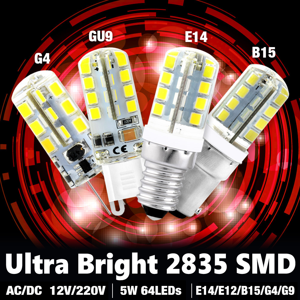 <font><b>G4</b></font> G9 E12 E14 B15 Socket <font><b>Led</b></font> Corn Bulb Warm Cool White Crystal Lamp 3 / 4 / 5 / 7 / 8 /<font><b>9w</b></font> 220v 2835 Smd Ac/dc <font><b>12v</b></font> For Offices image