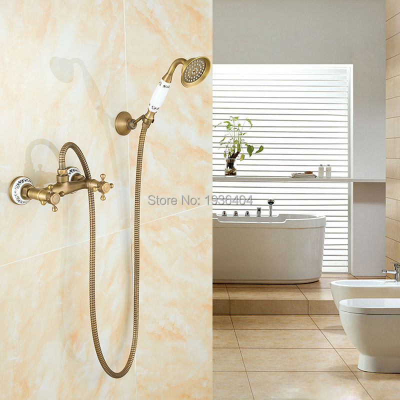 Luxury European Style Classic Antique Brass Wall Mounted Shower Sets ...