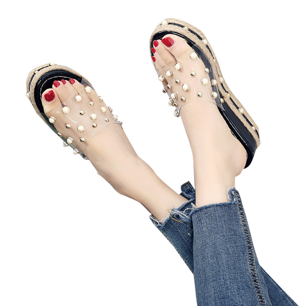 HTB1EsPIaND1gK0jSZFsq6zldVXa2 Fashion Jelly Sandals Summer Candy Slippers Woman Shoes Flats Ladies Womens Zapatos Mujer Slip On Pearl Beach Wedges Jelly Shoe