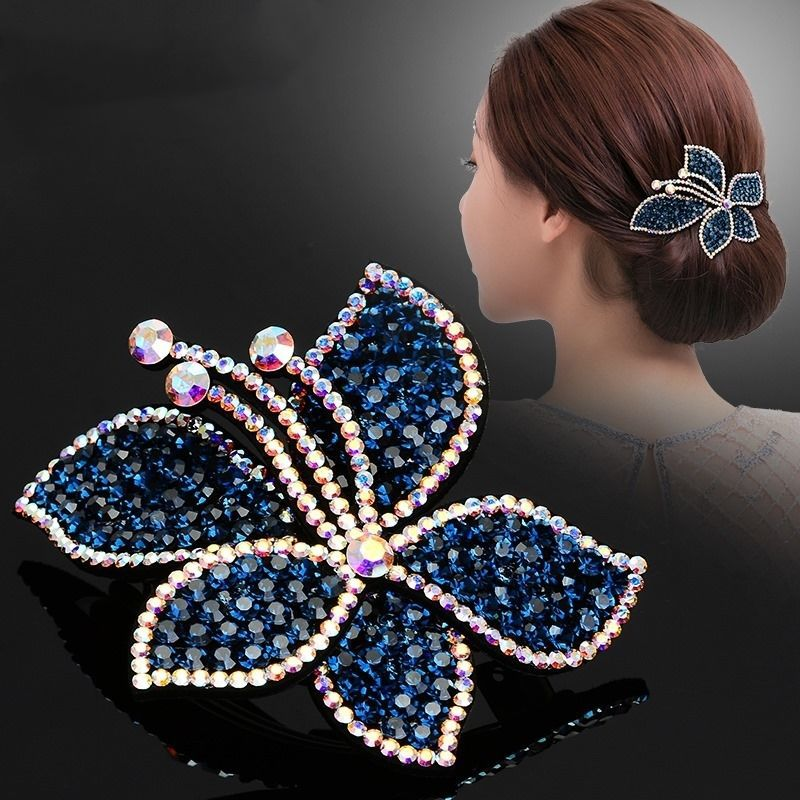 AWAYTR Flower Rhinestone Hairpin Women Plate Spring Hair Accessories Female Top Hairclips Elegant Adult Hairpin Mother Gift