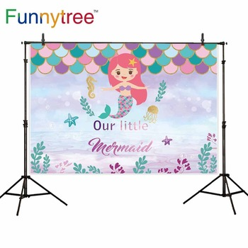 Funnytree Mermaid photo background birthday party Scale fairy tale seabed star baby shower girl backdrop photophone photozone image