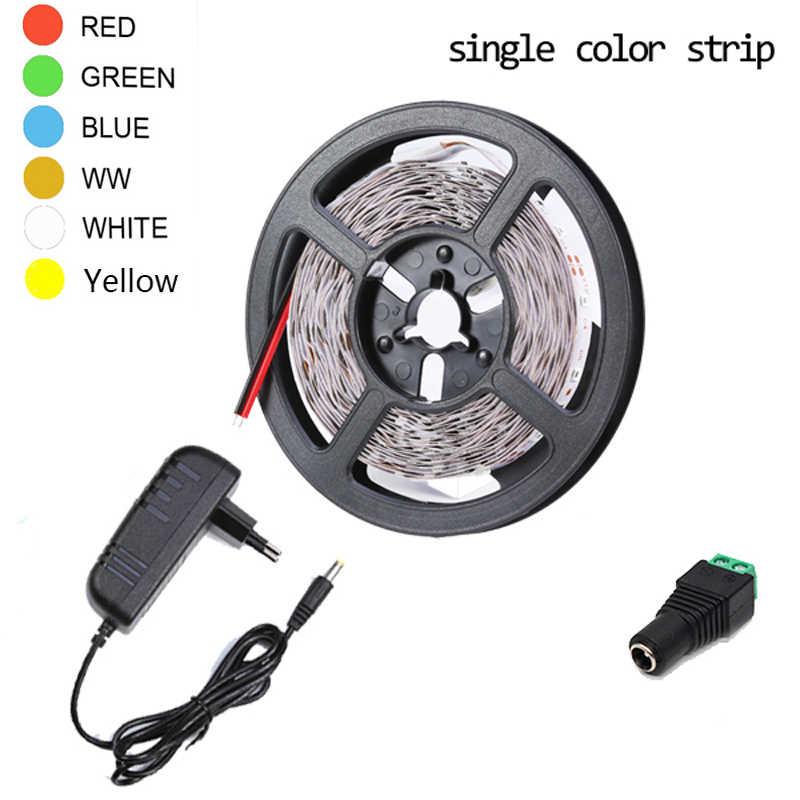 5 Meter 300 LED Tidak Tahan Air RGB LED Strip Light 2835 DC12V 60 LED/M Fleksibel Lampu Pita tape Putih Biru Merah Hijau Strip