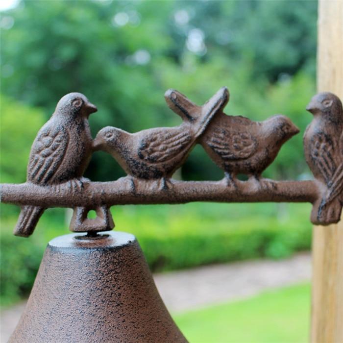Чугунный Приветственный ужин колокольчик птицы на окуня настенное крепление висячий дверной звонок примитивный коричневый Дом Сад Наружн... - 4