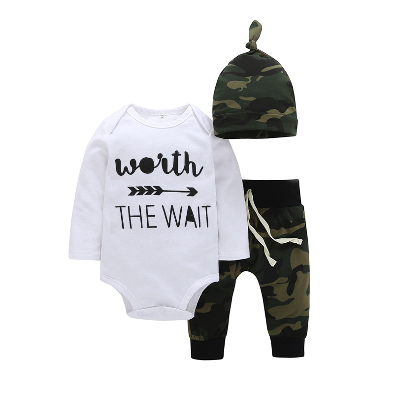 Baby boy girl costume suit white jumpsuit + camouflage trousers + hat autumn and winter 3 sets of childrens clothing