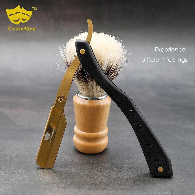 Barbe professionnelle rasage rasoir noir bois de santal poignée barbier cheveux coupe rasoir barbier cheveux couteaux lame modifiable couteau de rasage