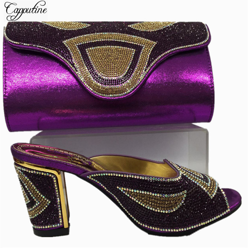 Capputine New Italian Woman Shoes And Bag Set Summer Style High Heels Shoes And Bag Set For Party Dress Fast Shipping BL525C