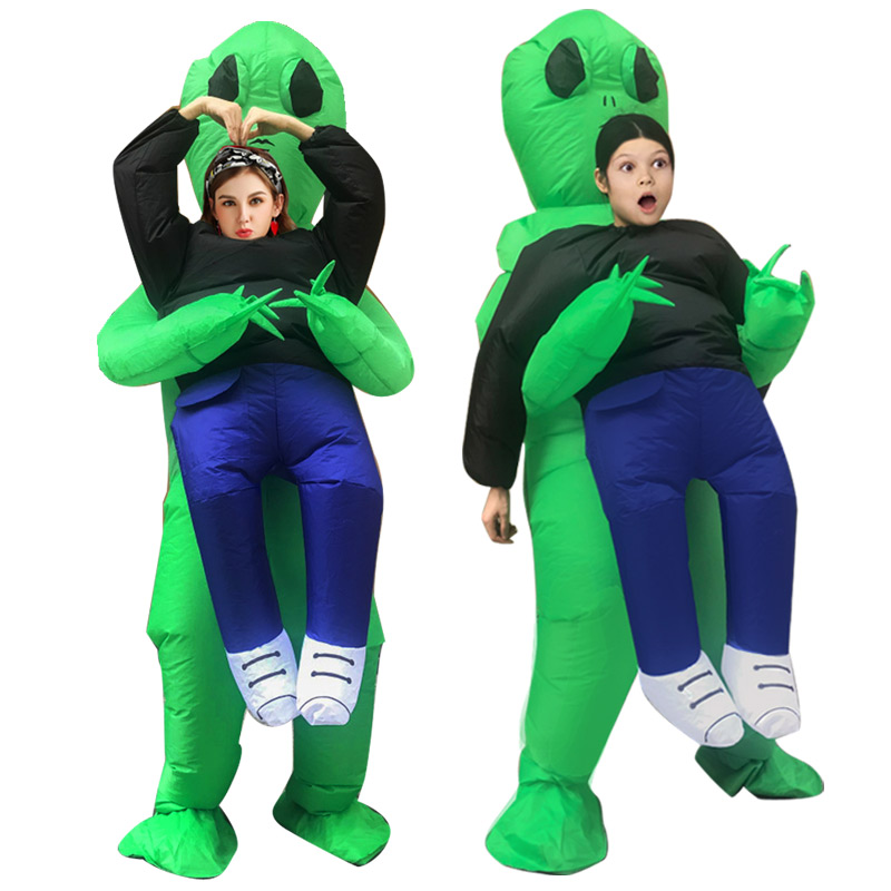 Inflatable Costume green alien Adult kids Funny Blow Up Suit Party Fancy Dress unisex costume ...