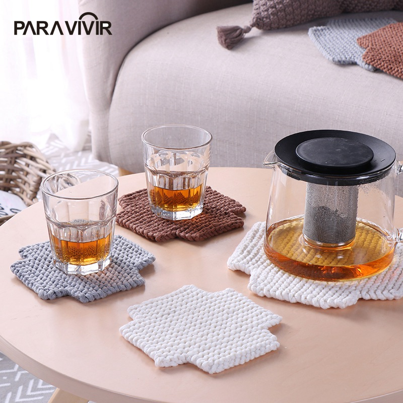 Modern Placemats Blended Cotton Dining Table Mat Heat Insulation Coffee Cup Pad Tableware Coaster Kitchen Accessories Decoration