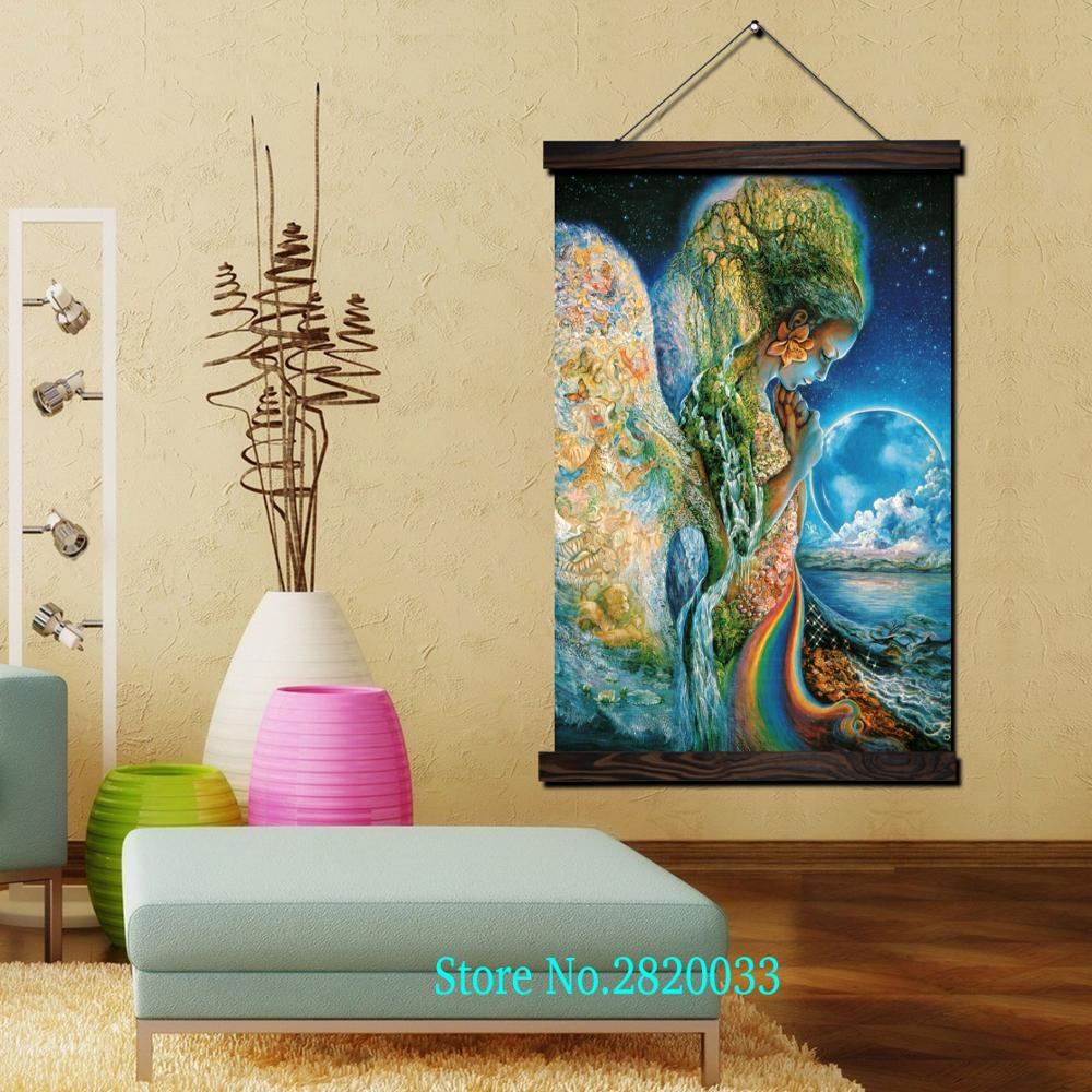 Angel guard the stars Framed Scroll Painting HD Wall Art Hanging ...