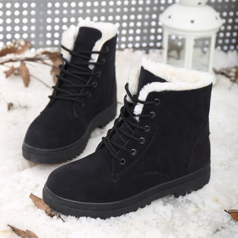 Image 4 - OneBling Platform Flat Martin Boots 2019 Winter Short Plush Warm Fur Lace Up Ankle Boots Women Plus Size Female Snow Booties-in Ankle Boots from Shoes