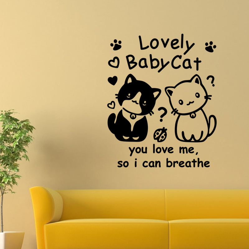 Wall Stickers Cats Vinyl mural Pet Walls Decal Home Decor Lovely ...