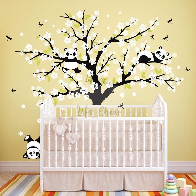 Schöne Panda Tiere Mit Baum Wand Kunst Abziehbilder Kinder Baby Zimmer Dekoration Panda Mit Blumen Wand Sticker Große Baum Aufkleber AC212
