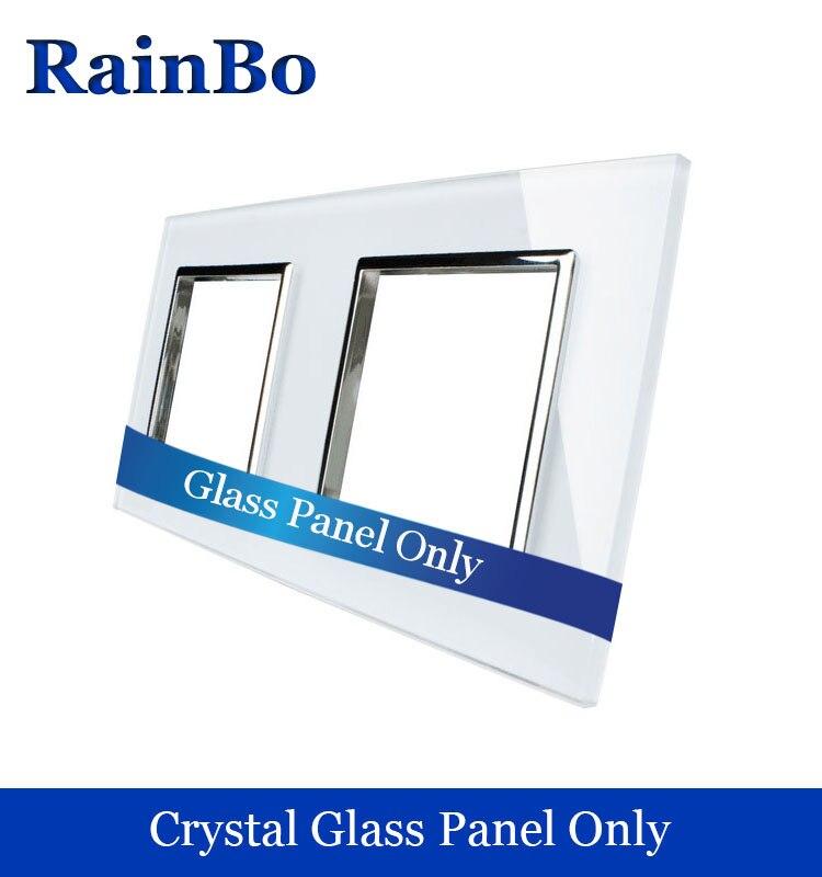 Rainbo liberan el envío de lujo cristal blanco panel de cristal 2 marcos de pared panel socket 151mm * 80mm estándar de la UE DIY accesorios A288W/B1
