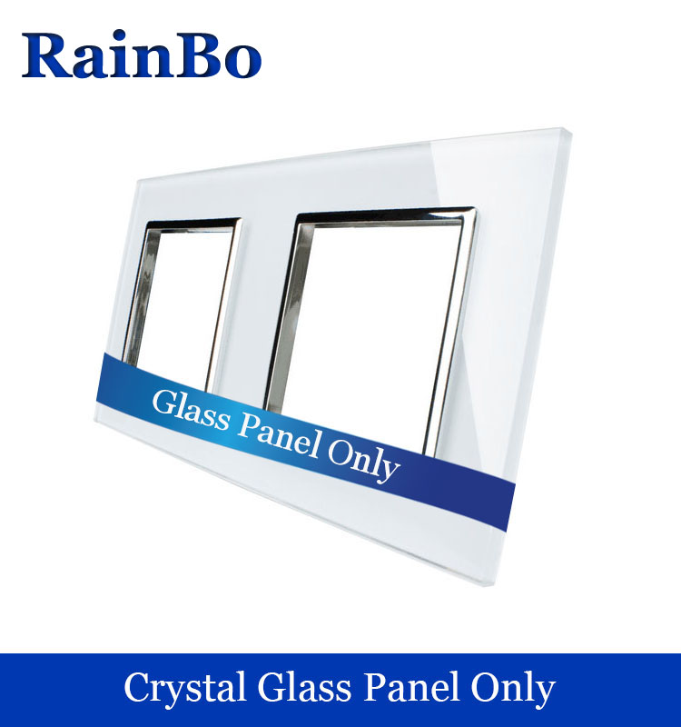 rainbo Free shipping Luxury Crystal White Glass Panel 2Frames Wall Socket Panel 151mm 80mm EU Standard