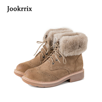 Jookrrix Winter Fashion Ankle Boots Warm Women Shoe Cross Tied British Style Lady Genuine Leather Snow