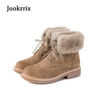 Jookrrix Winter Fashion Ankle Boots Warm Women Shoe Cross Tied British Style Lady Genuine Leather Snow