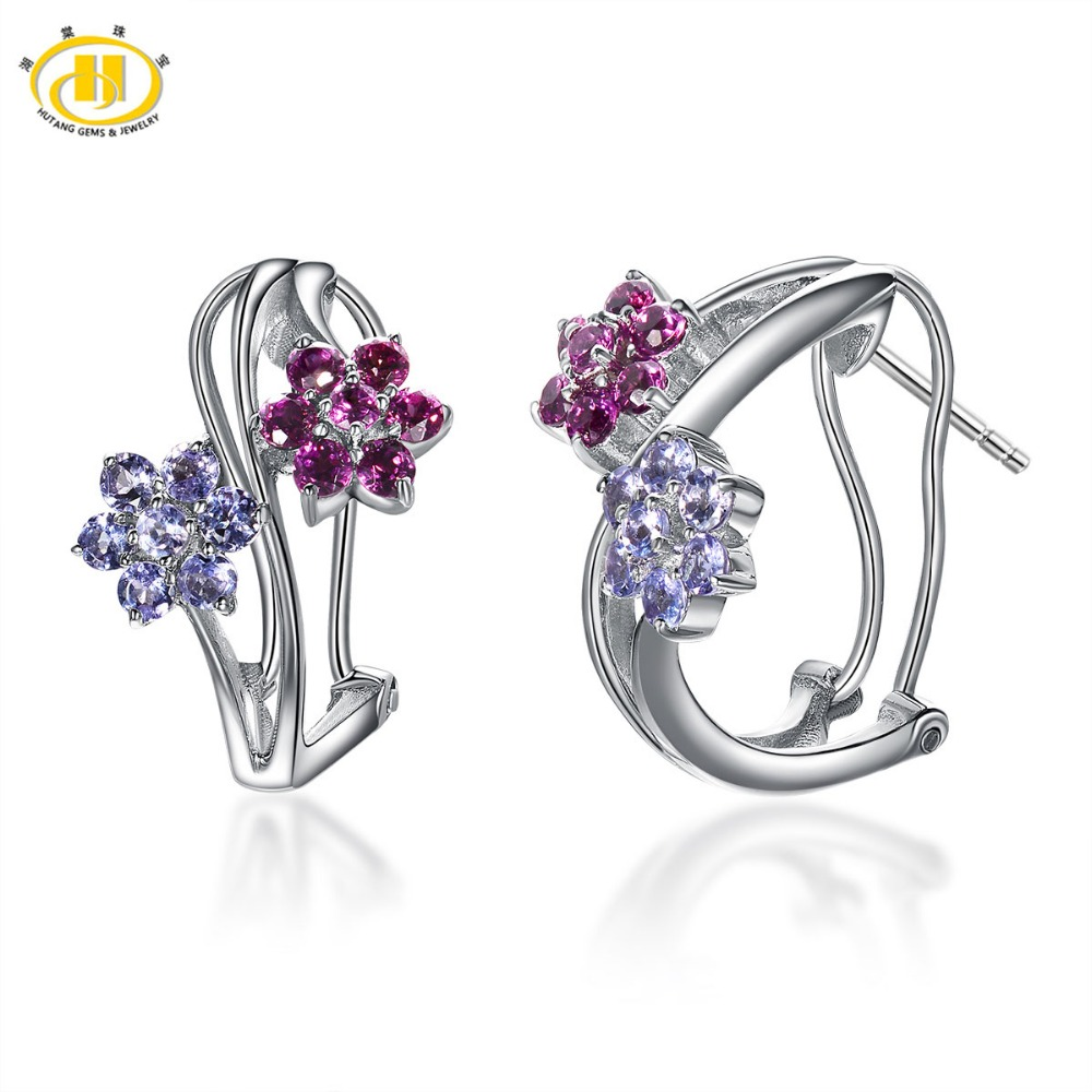 Hutang 14ct Natural Tanzanite & Rhodolite Flower Earrings Solid 925  Sterling Silver Gemstone Fine Jewelry