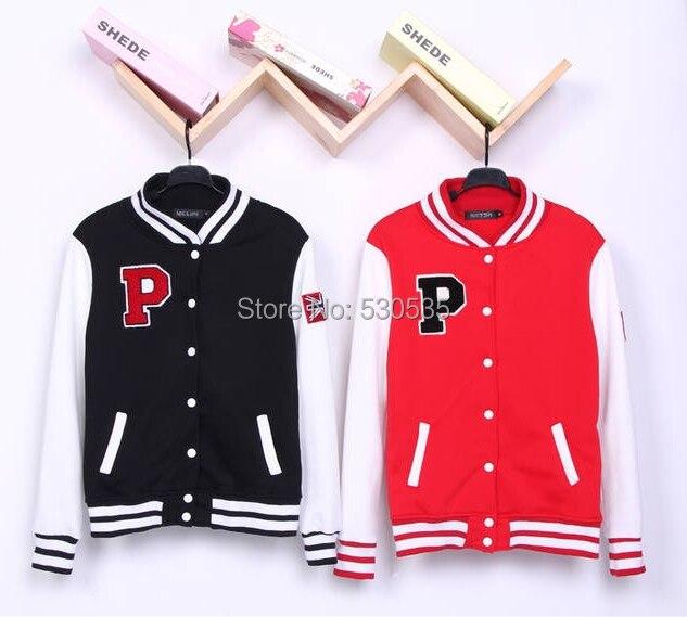 9dcf0416ad jaqueta college feminina Red Black moletom feminino casacos baseball jacket  women college jacket Unisex Letter P Varsity Jacket