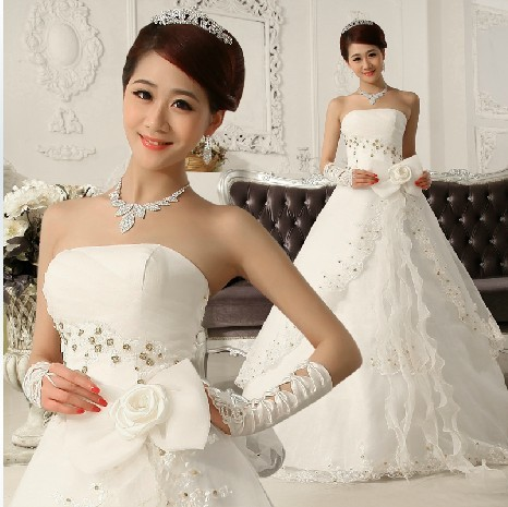 29bb24bf8c Hot selling 2013 tube top wedding dress formal dress princess beading  flower strap wedding dress free shipping