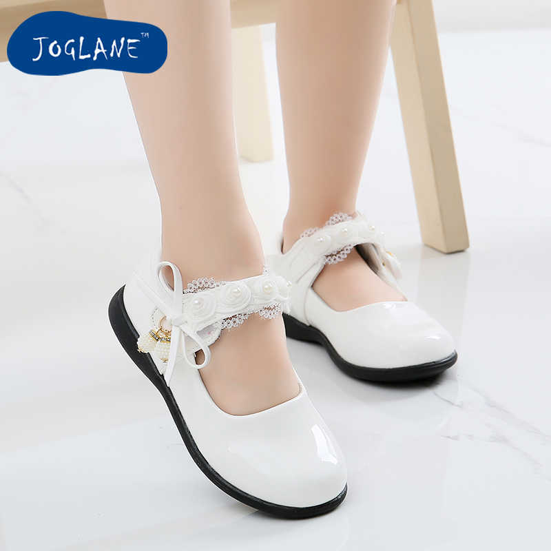 Girls leather shoes 2019 Spring style princess primary school students  dance white leather shoes kids lace 78c839ac35c4