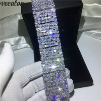 Vecalon Luxury Lady Big Bracelet AAAAA Cubic Zirconia White gold filled Engagement wedding Bracelet for women Bridal Jewelry