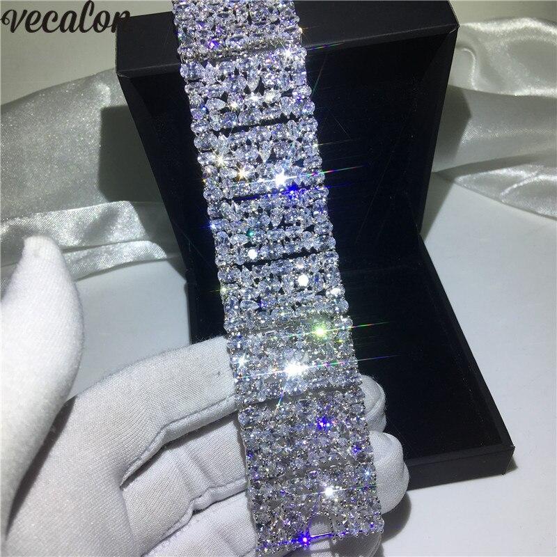 Vecalon luxe dame grand Bracelet AAAAA cubique zircone or blanc rempli de fiançailles Bracelet de mariage pour les femmes bijoux de mariée