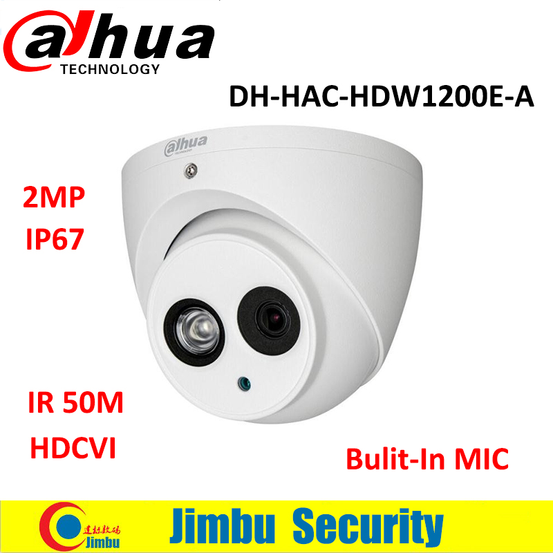 Dahua 2MP HD1080P HDCVI Camera DH HAC HDW1200E A IR 50m built in MIC IP67 CCTV