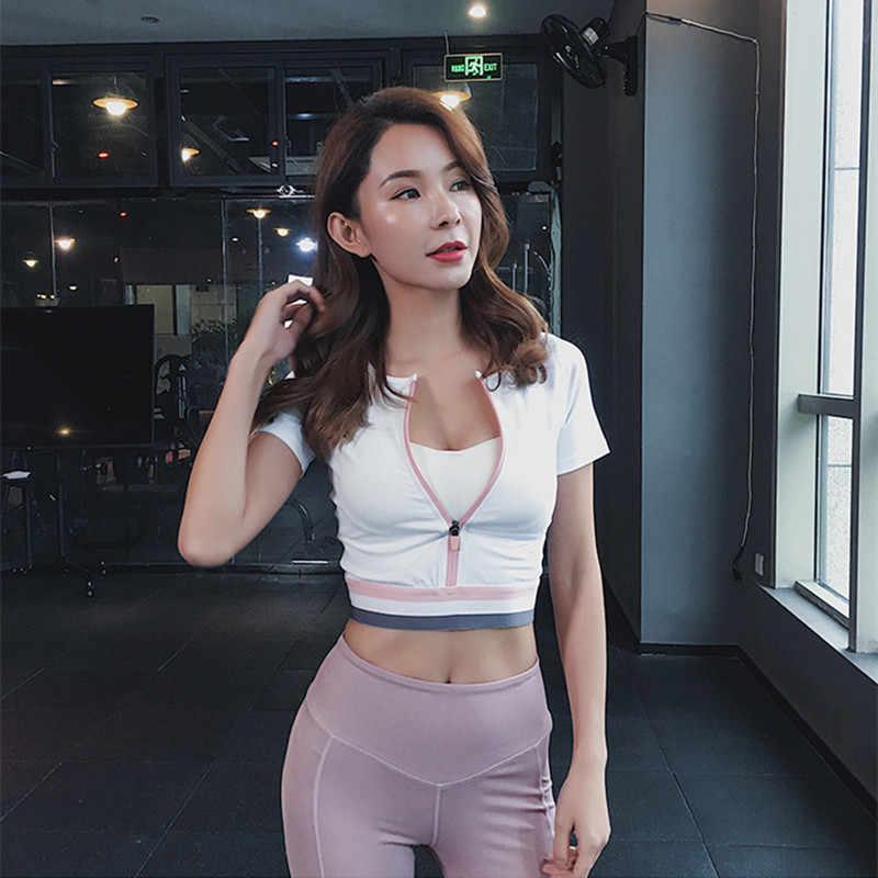 Kontrastowy kolor Sexy krótkie sportowe Top Fitness kobiety joga T-shirt z krótkim rękawem do biegania szybkie suche oddychająca siłowni na zamek błyskawiczny odzież sportowa