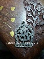 T9122 Tibet gümüş OM Muska Kolye, 37x27mm, Nepal el yapımı Antiqued 925 Gümüş takı bağbozumu