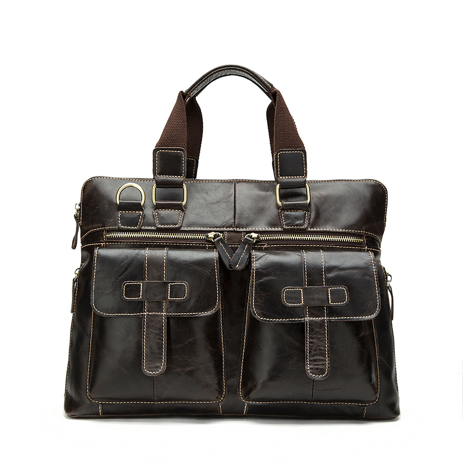 Factory Direct New Men Bags Europe And The United States Retro Genuine Leather Laptop Briefcases Men's Fashion Handbags