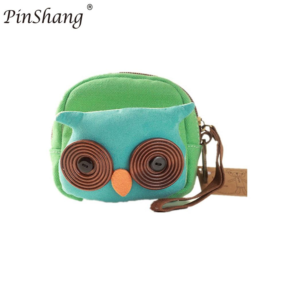 PinShang Women Concise Mini Canvas Coin Purse Portable Zippered Cute Cartoon Animal Purse Small Change Zipper Money Bag ZK30