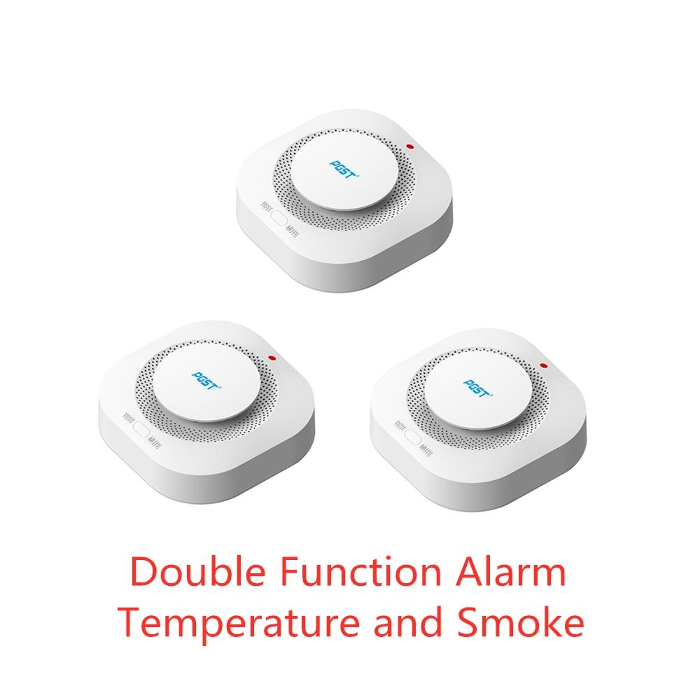 Capteurs d'alarme sans fil de détecteur de fumée de Protection contre l'incendie 433MHz de PGST 3 pcs/lot pour les systèmes d'alarme de sécurité à domicile de bureau de RF GSM PSTN