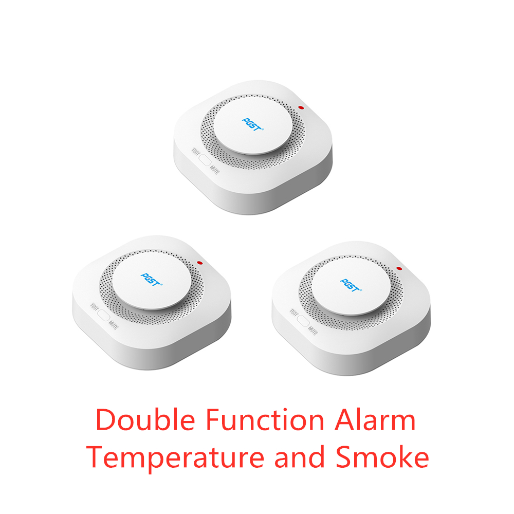 PGST 3pcs/lot 433MHz Wireless Fire Protection Smoke Detector  Alarm Sensors For RF GSM PSTN Office Home Security Alarm Systems